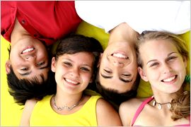 Young People with Healthy Smiles